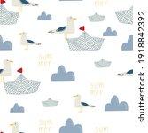 Seamless Pattern Of A Sea Gull...