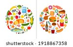 good and bad food. vegetables ... | Shutterstock .eps vector #1918867358