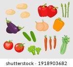 vegetables vector set cartoon... | Shutterstock .eps vector #1918903682