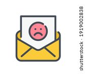 mail with sad face color line...