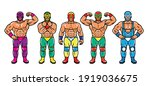lucha libre characters. mexican ...   Shutterstock .eps vector #1919036675