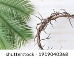 Wood Crown Of Thorns And Palm...