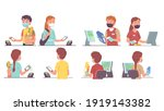 buyer men  women in masks... | Shutterstock .eps vector #1919143382