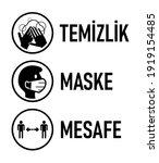 "temizlik maske mesafe  ""hygiene ... | Shutterstock .eps vector #1919154485"