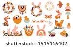 boho easter concept design ... | Shutterstock .eps vector #1919156402