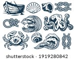 set of nautical elements for... | Shutterstock .eps vector #1919280842