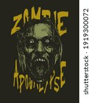 zombie apocalypse. zombie head. ... | Shutterstock . vector #1919300072