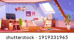 messy girl bedroom on attic.... | Shutterstock .eps vector #1919331965