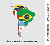 map of south america countries... | Shutterstock .eps vector #1919342345