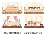 set of dining room design flat...   Shutterstock .eps vector #1919362478