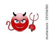 Devil Emoticon On A White...
