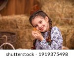 Happy Girl With Pigtails In A...