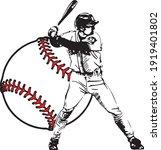 baseball player vector on white ... | Shutterstock .eps vector #1919401802