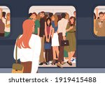 subway car crowded with people...   Shutterstock .eps vector #1919415488