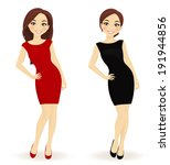 set of women in red and black... | Shutterstock .eps vector #191944856