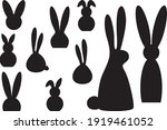 easter bunnies silhouettes...   Shutterstock .eps vector #1919461052