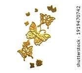 Golden Butterflies On A White...