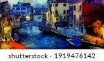 Venice Canal Bridge At Evening  ...