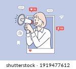 internet advertisement. hands... | Shutterstock .eps vector #1919477612