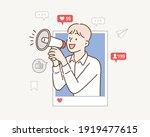 internet advertisement. hands... | Shutterstock .eps vector #1919477615
