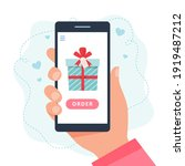 online shopping gifts. screen... | Shutterstock .eps vector #1919487212