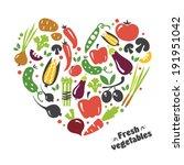 heart vegetables set | Shutterstock .eps vector #191951042