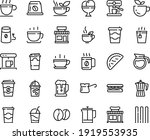 food line icon set   hot cup ... | Shutterstock .eps vector #1919553935