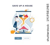 save up a house concept. man... | Shutterstock .eps vector #1919581985