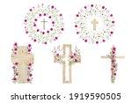 Watercolor Flower Cross  Wood...