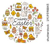 happy easter set of icons in...   Shutterstock .eps vector #1919598845