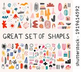 great set of vector shapes - boho bogemian geometric splash spot.Elements for postcard, pattern, decoration. Clip art hand drawn scandinavian free forms.Tattoo template.Abstract colorful art assets.