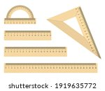 Set Of Realistic Wooden Ruler...