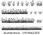 set of hand drawn grass.... | Shutterstock .eps vector #1919662205