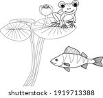 coloring page with frog sitting ...   Shutterstock .eps vector #1919713388