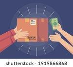 cash on delivery. postal parcel ... | Shutterstock .eps vector #1919866868
