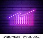 graph and arrow neon icon....