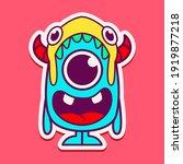 cute monster cartoon doodle...   Shutterstock .eps vector #1919877218