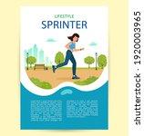 woman is jogging in city park.... | Shutterstock .eps vector #1920003965