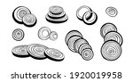 vector set of onion slices and... | Shutterstock .eps vector #1920019958