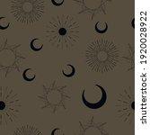 Sun And Moon Patterns On Dark...