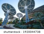 Small photo of Dubai, UAE - 02.13.2021: Terra Sustainability Pavilion at the EXPO 2020 built for EXPO 2020 scheduled to be held in 2021 in the United Arab Emirates. solar panels