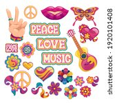 hippie icons  signs of peace ...   Shutterstock .eps vector #1920101408