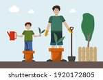 father and son in the garden.... | Shutterstock .eps vector #1920172805