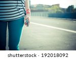 close up of legs hipster woman... | Shutterstock . vector #192018092