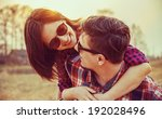 young happy woman in glasses... | Shutterstock . vector #192028496