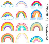 color rainbow with clouds... | Shutterstock .eps vector #1920319622