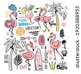 flamingo doodle with tropical... | Shutterstock .eps vector #1920388955