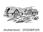 village with road in sketch... | Shutterstock .eps vector #1920389105