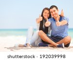beautiful couple on the beach. | Shutterstock . vector #192039998