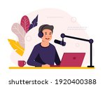 podcast concept illustration.... | Shutterstock .eps vector #1920400388